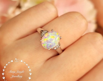 3 Carats Oval Cut Fire Opal Ring, 8*10 mm White Fire Opal Cabochon Ring in Ribbon Setting, October Birthstone Promise Ring, Modern Opal Ring