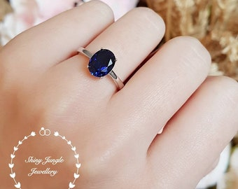 Simple Solitaire Genuine Lab Grown Blue Sapphire Engagement Ring, Oval Cut Royal Blue Sapphire Promise Ring, September Birthstone Gift