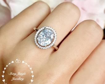 Statement diamond ring, oval cut 3 carat diamond engagement ring, halo style diamond engagement ring, diamond simulant ring, cocktail ring