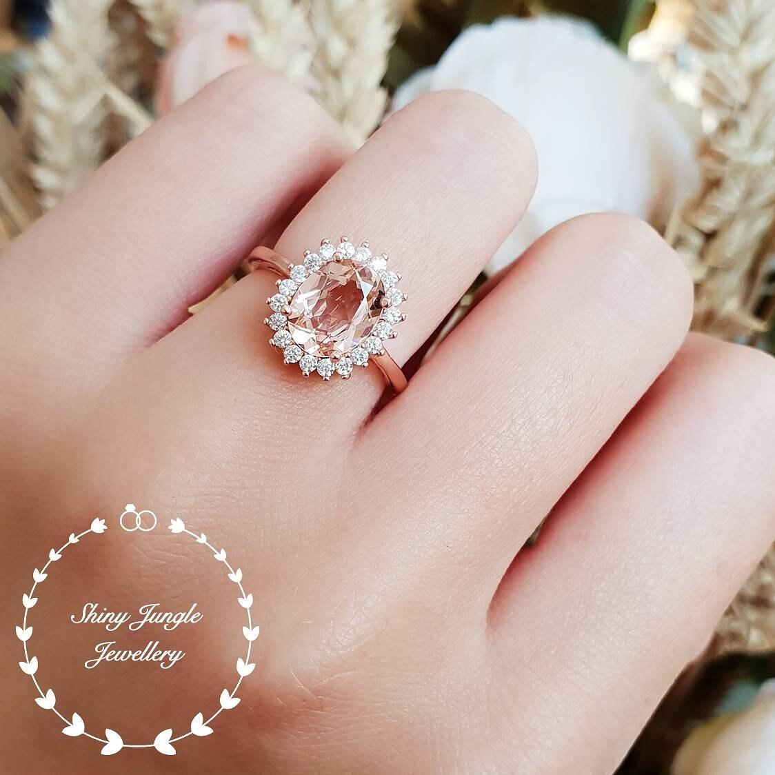 Morganite engagement ring Rose Gold/White gold Halo Morganite | Etsy
