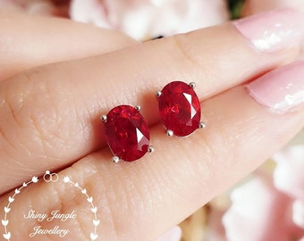 Oval cut genuine lab grown Ruby simple stud earrings, July Birthstone gift,bridal earrings,minimalist earrings,white/rose gold plated silver