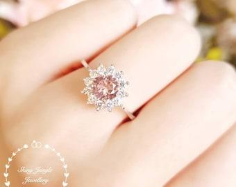 Delicate Round Morganite Halo Engagement Ring, Flower Halo 1 Carat 6 mm Round Morganite Promise Ring, Light Pink Blush Morganite Ring