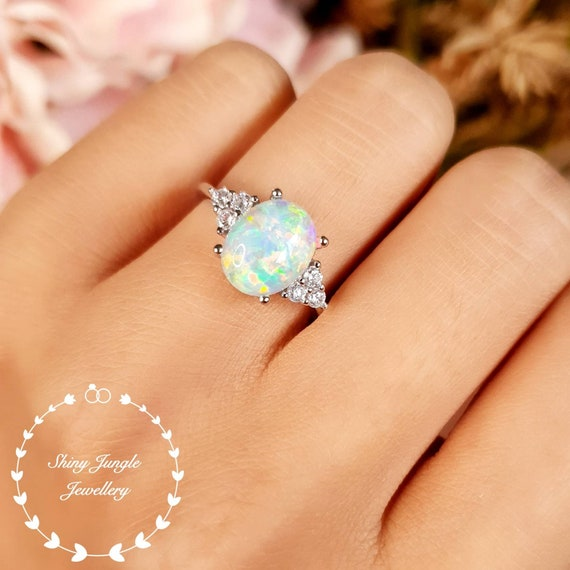 Blush /& Bar Three Stone Simple Dots White Fire Opal Ring Gold Ring Stackable Ring Vintage Promise Eternity Band with Genuine Natural Stone Trio