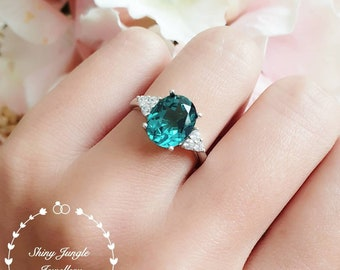Indicolite tourmaline ring, oval green tourmaline ring, three stone indicolite tourmaline ring, white gold plated sterling silver, teal ring