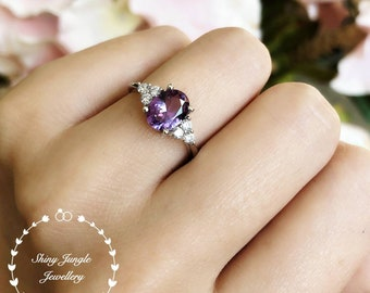 Alexandrite Ring, Oval Three Stone Style Alexandrite Engagement Ring, June Birthstone Promise ring, Colour Changing Purple Gemstone Ring
