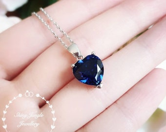 Genuine Lab Grown Heart Shaped Sapphire Necklace, Royal Blue Sapphire Heart Pendant, Blue Heart Statement Necklace September Birthstone Gift