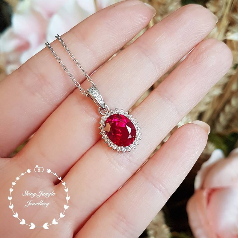 Royal Halo Genuine Lab Grown Ruby Necklace 3 carats 810 mm image 0