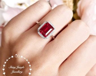 Genuine lab grown Pigeon's Blood Ruby Halo Engagement Ring, 3 carats 7×9 mm emerald cut ruby, white/rose gold plated silver, red gem ring