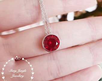 Round bezel set genuine lab grown ruby necklace, 2 carats ruby pendant,solitaire necklace,July birthstone gift white/rose gold plated silver