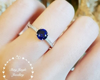 Genuine Lab Grown Royal Blue Delicate Round Cut Sapphire Engagement Ring, dainty sapphire solitaire ring, September birthstone promise ring