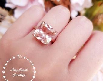Statement Morganite ring, engagement ring, square radiant cut lab morganite, solitaire ring, pink gemstone ring, Square cut morganite ring