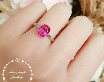 Simple Solitaire Genuine Lab Grown Pink Sapphire Engagement Ring, Oval Cut Hot Pink Sapphire Promise Ring, September Birthstone Gift