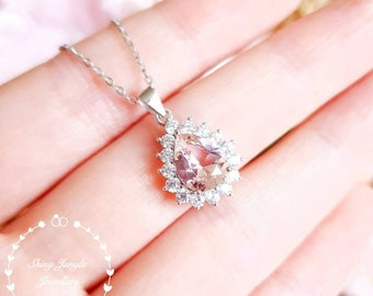 Halo Pear Shaped Morganite necklace, 7*9 mm Pear cut Morganite pendant, Teardrop solitaire necklace, blush pink gemstone, sterling silver