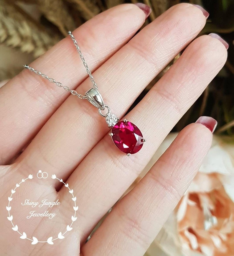 white gold plated sterling silver ruby necklace with chain lab ruby solitaire necklace july birthstone pendant Oval Ruby pendant