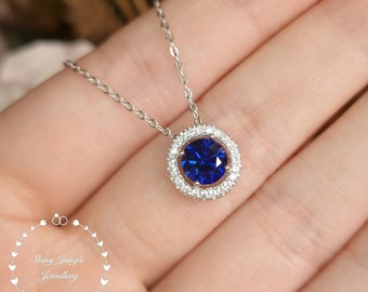 Genuine Lab Grown Sapphire Necklace, Delicate 1 Carat 6mm Round Cut Royal Blue Sapphire Halo Pendant, September Birthstone Gift