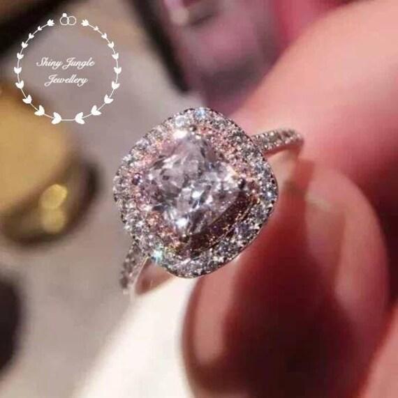 Cushion SilverBridal Simulant BridalWhite Gold Classic Diamond Halo Engagement Cut Sterling RingPink Plated lFJcTK1