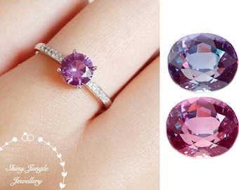 Alexandrite Ring, Delicate 1 carat 6 mm Round Alexandrite Engagement Ring, June Birthstone Promise Ring, Colour Changing Gemstone Ring