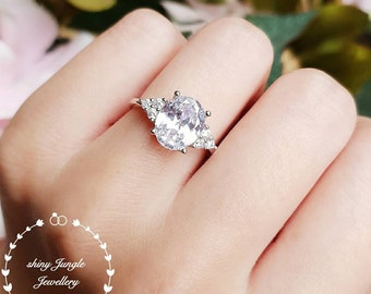 Three stone style oval cut simulated diamond engagement ring, 3 carat 8×10 mm diamond promise ring, diamond simulant solitaire ring