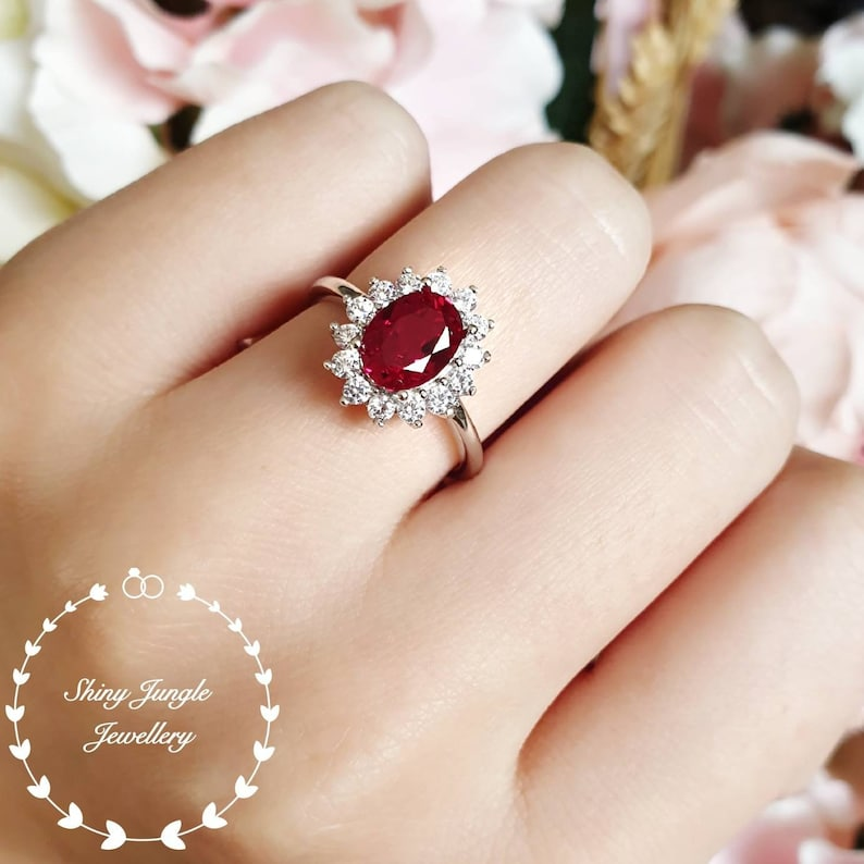 2 carats royal halo genuine lab grown ruby engagement ring image 0