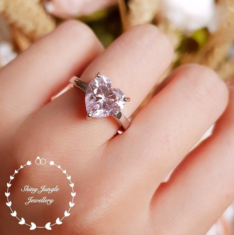 294765d8a10f0 Heart shaped Pink Diamond ring, engagement ring, 3 carats heart cut fancy  pink diamond ring, pastel pink ring, pink diamond solitaire ring