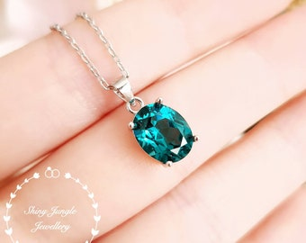 Oval Indicolite tourmaline pendant, 3ct green tourmaline necklace with chain, teal blue gemstone pendant, October birthstone pendant