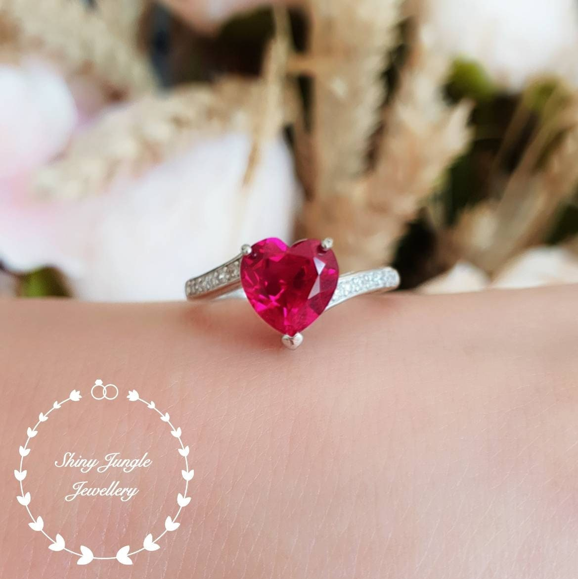 Heart shaped ruby ring, heart cut ruby engagement ring, red heart ...