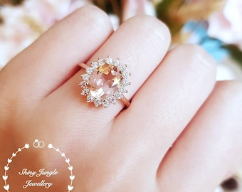 Morganite Halo engagement ring, padparadscha sapphire colour, solitaire ring, vintage design, Princess Eugenie, pink stone ring, oval cut