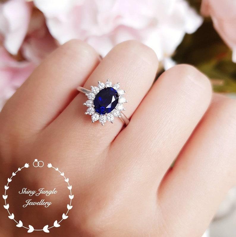 2 carats Royal Blue Genuine Lab Grown Sapphire Halo Engagement image 0
