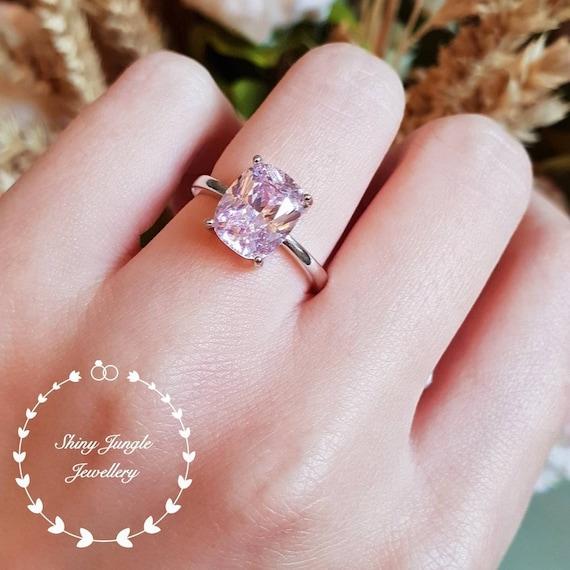 Pink Diamond Ring >> Pink Diamond Ring Engagement Ring 3 Carats Cushion Cut Fancy Pink Diamond Ring Pastel Pink Ring Pink Diamond Solitaire Ring