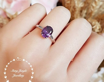 Oval Amethyst ring, promise ring, faceted amethyst ring, white gold plated silver,purple stone ring, February birthstone, purple quartz ring