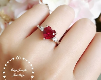Heart shaped genuine lab grown ruby engagement ring, July birthstone promise ring, red heart ring, heart cut gem ring, red stone ring
