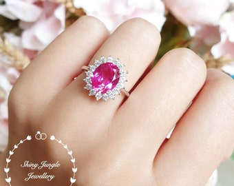 Genuine Lab Grown Pink Sapphire Royal Halo Engagement Ring, Oval Hot Pink Sapphire Princess Diana Ring, September Birthstone Promise Ring