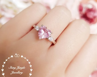 Heart Shaped Pink Diamond ring, Three Stone Vivid Pink Diamond Simulant Engagement Ring, White Gold Plated Sterling Silver, Pink Heart Ring