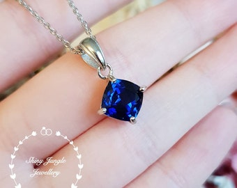 Cushion Cut Genuine Lab Grown Royal Blue sapphire Necklace, Simple Solitaire Square Cushion Sapphire Pendant, September Birthstone Gift