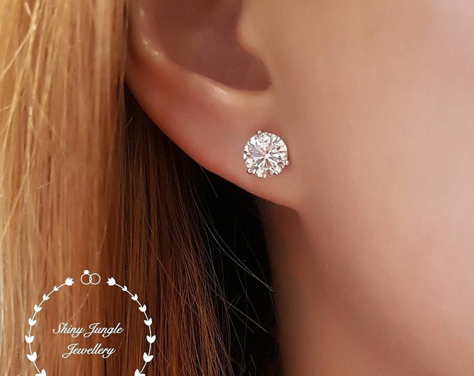 Featured listing image: Diamond Stud Earrings, 0.5, 1 & 2 Carats Man Made Diamond Simulant Studs, 14k White Gold Plated Silver 3 Claw Set, May Birthday Gift In Box