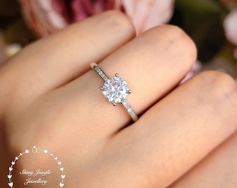 Diamond Engagement Ring, Classic Pavé Set Diamond Ring, Round Brilliant Cut 1 carat 6mm Diamond Simulant Promise Ring, April Birthstone Gift