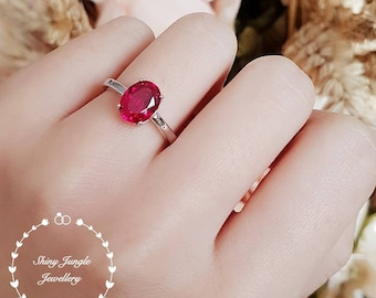 Oval cut genuine lab grown ruby solitaire engagement ring, July birthstone promise ring, simple ruby ring, white gold plated silver