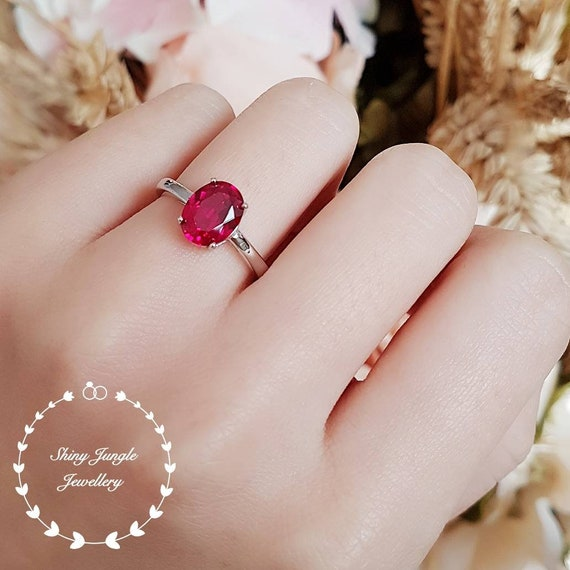 Heart Red Ruby Ring Side Pear Shape Ruby Ring Promise Ring Valentines Gift Love Engagement Ring Yellow Gold Plated Sterling Silver