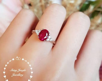 Oval genuine lab grown ruby engagement ring, July Birthstone promise ring, white gold plated sterling silver, red gemstone three stone ring