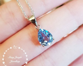 Swiss Blue topaz pendant, 2 carats 7×9mm pear shaped Blue topaz necklace with chain, solitaire necklace, December birthstone, bridal pendant