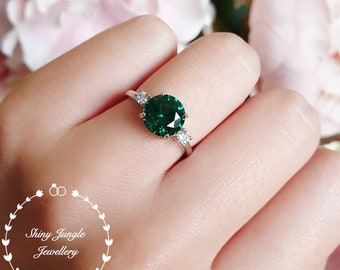 Round three stone emerald engagement ring, lab simulated emerald promise ring, white gold plated silver, green gemstone solitaire ring