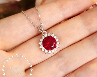 Halo Ruby Necklace, Round Cut 2 carats Genuine Lab Grown Ruby Pendant, Pigeons' Blood Ruby Pendant,  July Birthstone Gift, Red Stone Pendant