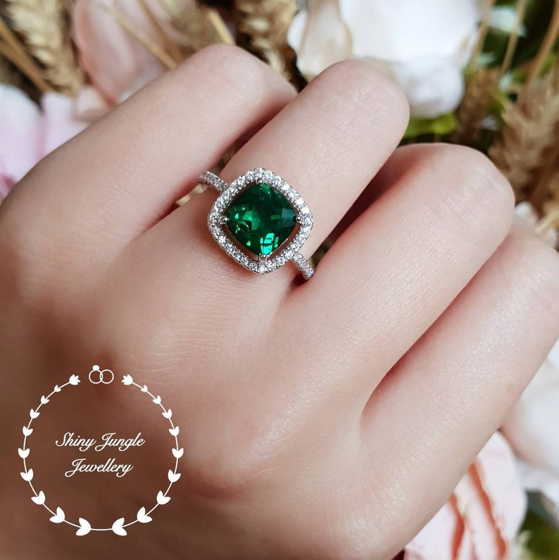 Cushion Cut Halo Emerald Ring Emerald Engagement Ring Cluster Ring White Gold Plated Sterling Silver Cushion Ring Square Ring