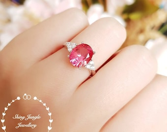 Rare Genuine Lab Grown Padparadscha Sapphire Three Stone Engagement Ring, Oval 8*10 Sunset Orangy Pink Sapphire, September Birthstone Gift