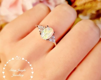 Three Stone Oval Opal Engagement Ring, 6*8 White Fire Opal Cabochon Ring, October Birthstone Promise Ring, Modern Opal Ring, Delicate Ring