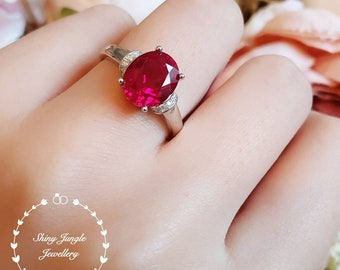 3 carats oval cut genuine lab grown ruby engagement ring with ribbon design, July Birthstone promise ring, white/rose gold plated silver