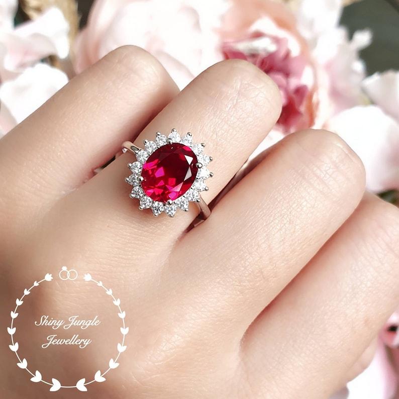 Royal halo design genuine lab grown ruby engagement ring July image 0