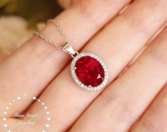 Modern Halo Genuine Lab Grown Ruby Necklace, 3 carats 8*10 mm Oval Cut Ruby with Micro Pavé setting, July Birthstone Pendant, Red Gemstone