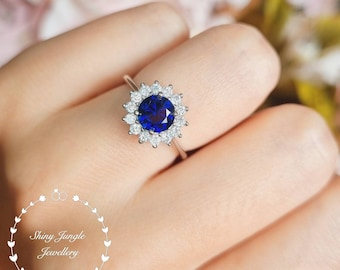 Genuine Lab Grown Round Cut Royal Blue Sapphire Halo Engagement ring,1 Carat 6*6mm Delicate Round Sapphire Promise Ring,September Birthstone