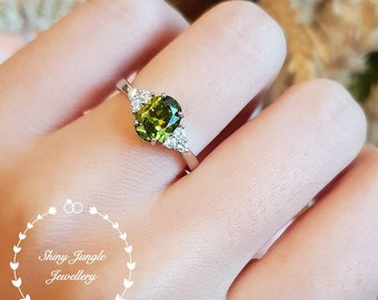 Oval peridot ring, three stone peridot solitaire ring, August Birthstone ring, white gold plated sterling silver, olive green gemstone ring